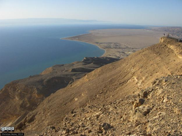 A view of the northern Gulf of Suez looking northwest from the Sinai margin towards the African margin. Picture licensed under a Creative Commons Attribution-Share Alike 3.0 license.